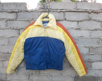 Vintage Jacket Puffer Iconic 1970s Colors Skater Surfer 70s Show Camping Hippie Disco Racing sz Medium Oversized Unisex Nylon