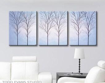 Canvas Art Minimalist Wall Decor Art Painting 3 Piece Wall Art Acrylic Original Painting of Trees Set of Three Home Decor Light Blue 48x20