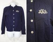Vintage 50's THE VILLAGERS Virgin Wool Cardigan Initial MML