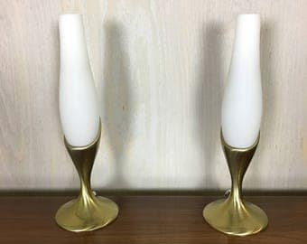 Pair of Brass and Frosted Glass Boudoir Lamps