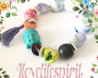 The buddha turquoise mixed media bracelet