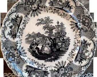Antique Black China Plate, Black China, Black Dishes, Old Dishes, Black Transferware, Spanish, Ironstone, Serving, China Dishes