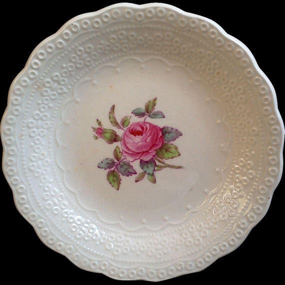 "Vintage Spode's ""Billingsley Rose"" Berry Bowl, Small Dish, Spode Jewel Copeland Spode, Red/Pink Transferware,  Rose, English Tra"