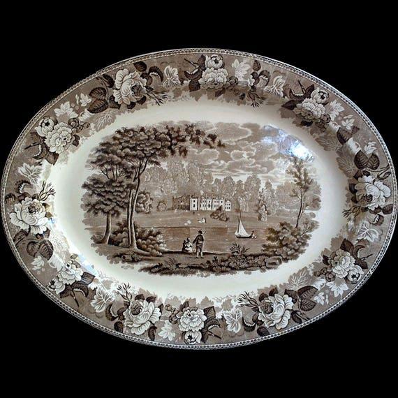Brown Transferware Large WEDGWOOD Platter, 1890's, Serving, Cabinet Plate, Antique Platter