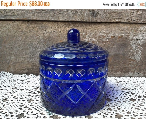 Vintage Cobalt Blue Cut Glass Covered Dish Candy Dish Holiday Dish Criss Cross Diamond Pattern