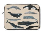Whale Laptop Sleeve, whale painting, whale laptop case, whale computer case