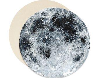 Moon Coasters Set of 6, moon coasters, moon coaster, grey coasters, moon painting, moon coaster set, gray coasters