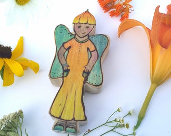 Jillie the Reluctant Summer Garden Faerie, Yellow Fairy, Flower Doll, Wooden Solstice Doll Waldorf Toy