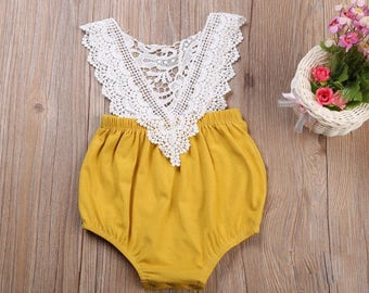 Baby Girls Romper Sleeveless Lace mustard V-Neck Romper Jumpsuit Clothes Sunsuit Outfits