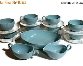 Blue Melamine Cups & saucers, aqua blue melamine bowl, aqua turquoise blue melamine creamer and sugar bowl, Retro Coffee cups