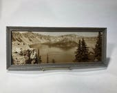 Vintage Crater Lake Picture Framed Photo Black and White Signed 1941 Eddy