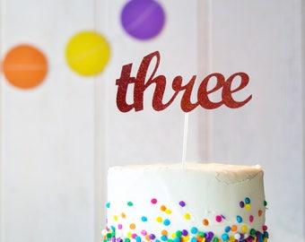 Three Cake Topper, 3 Cake Topper, Boy's 3rd Birthday Party Decoration, Girl's 3rd Birthday Party Decoration, Kid's 3rd Birthday Cake Topper