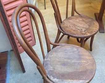 Vintage Fischel Pair Bentwood Bistro Chairs