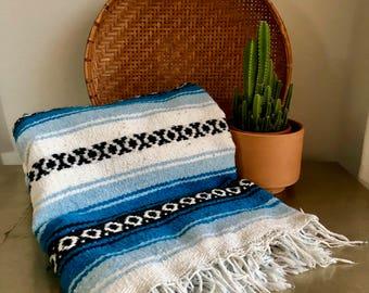 vintage Mexican blanket throw turquoise boho southwestern Falsa