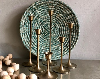 vintage brass candlesticks graduated taper candle holders set of 6 tulip base boho