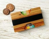 Rubber Band Wallet. Minimalist Wallet. Card holder. Wooden Wallet. Slim wallet. Personalised wallet. Gift for men