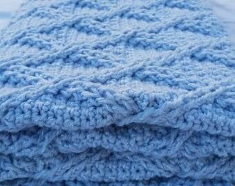 Sale Crochet Blue Baby Blanket