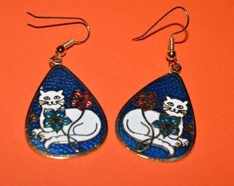 Vintage Dark Blue  Enamel Cloisonne Earrings White Cat 1980s