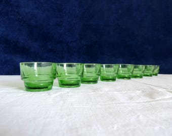 Vintage French, Lever, set of 8 green egg cups, shot glasses, liqueur, glasses, or tea light candle holders.
