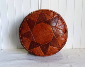 Vintage North African leather pouf, ottoman, COVER only, tan leather, handmade, ethnic home decor, boho decor, hippie chic.