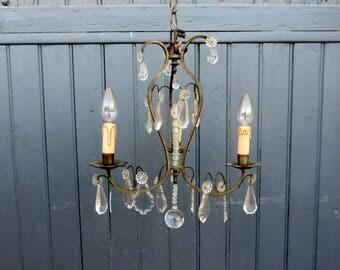 Venetian bronze and crystal glass, 3 lamp birdcage chandelier, ceiling light, pendant light
