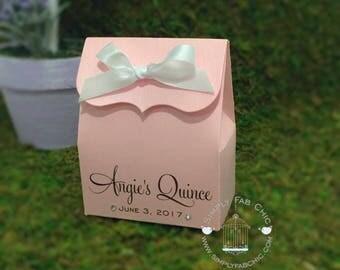 Quinceanera Favor Box   Favor Boxes (Set of 10)   Treat Favors   Pink Favor Box   Personalized Boxes   Bridal Shower Favor   Wedding Favor  
