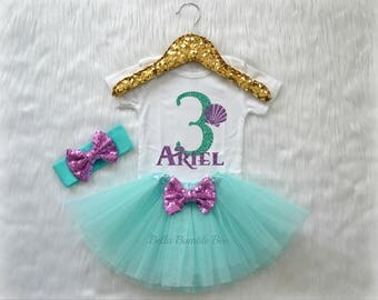 Baby Girl Mermaid Sea Shell Third Birthday Shirt, Headband Tutu Set Aqua Three Glitter with lavender Custom Name, White Short sleeve 328