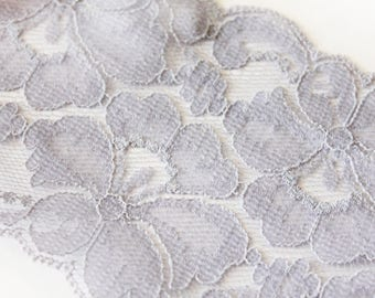 Lavender Lace trim, 3.625 inch by 3 yard lace trim, purple lace, light purple lace band, lilac belly band, wedding lace, invitation band