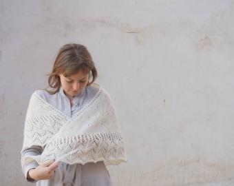 White Winter Wedding Shawl, Crocheted Shawl, White Shawl, Wool Shawl, Winter Wedding