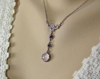 "Rose Quartz Necklace, Pink Quartz Necklace, ""T"" Necklace, Taurus Birthstone, Amethyst Necklace, Love Stone Necklace,Rose Quartz, Gemstone"