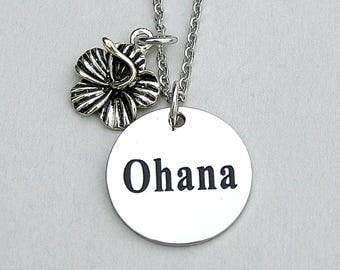 "Stainless Steel Charm "" Ohana "" Engraved Charm, Hibiscus Flower,  Ohana  Necklace, Disney Inspired"