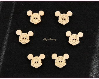 Buttons wooden mickey mouse x 6