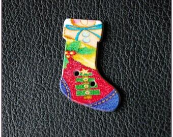 "Wooden Christmas socks buttons ""model 09"" x 1"