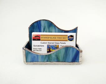 Business Card Holder - Stained Glass - Blue and Green Swirl - Desk Accessory - Office Decor - Note Pad Holder - Office Gift - Coworker Gift