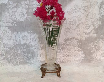 Clear glass vase with gold metal filigree footed base French Hollywood regency romantic cottage chic vanity boudoir home decor