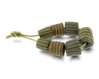 Striped Cylinder Beads Handcrafted Beads from South Africa, Balelaceramics
