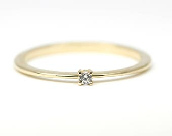 Diamond Ring 18K Gold Diamond Ring, April Birthstone Ring, Delicate Gold Ring Dainty Ring