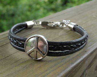 Men's Black Leather Bracelet with Antique Silver Peace Sign center and Lobster Clasp
