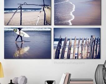 Beach Bathroom wall decor, set of 4 prints of beach photography horizontal large canvas art, bathroom art, large wall art, pastel decor