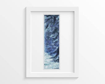 Cross Stitch Pattern PDF Blue Winter BOOKMARK Cross Stitch Chart, Winter, Snow, Instant Download (BK37)