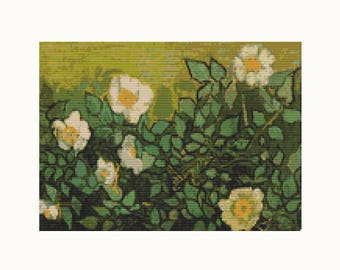 Cross Stitch Kit Wild Roses by Vincent Van Gogh, Floral Cross Stitch, Embroidery Kit, Needlework DIY Kit (VGOGH18)