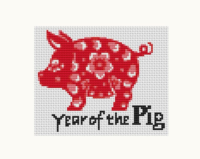 Year of the Pig, Chinese Zodiac Cross Stitch, Art Cross Stitch (TAS112)