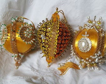 3 Vintage Christmas Ornaments Beaded Sequins 1970s FABULOUS Gold Yellow