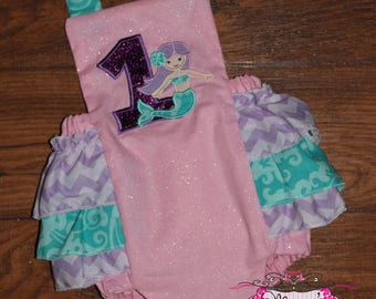 Mermaid Under the Sea Ruffle Bottom Romper Pink, Purple,Turqouise
