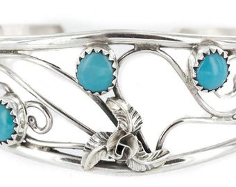 Delicate 300Tag Authentic Navajo .925 Sterling Silver Natural Arizona Sleeping Beauty Turquoise Native American Bracelet Native-Bay 12947-2