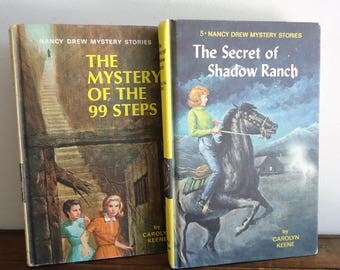 Nancy Drew books, Carolyn Keene, vintage hardcover collectable books, teen reading teen mystery, young adult fiction