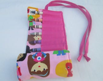 Superhero Girl Crayon Roll, Includes 16 Crayola Crayons, Ready to Ship, Birthday Party favor, toddler gift, preschool gift, Handmade gift