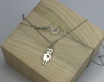Robot Necklace, Robot Charm Necklace, Sterling Silver Robot, Science Necklace, Tin Man Necklace, READY TO SHIP