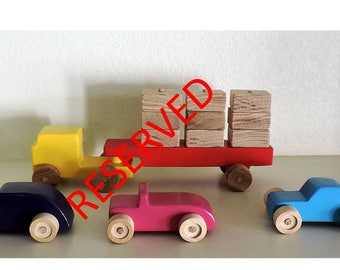 Wooden toy truck and cars