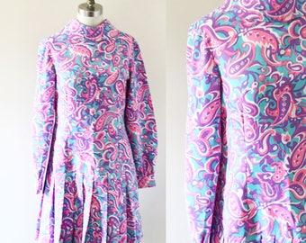 1960s purple paisley pleated cheer dress // 1960s paisley dress // vintage dress